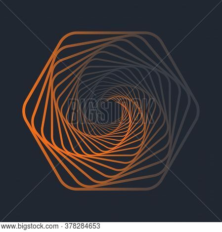 Colorful Twisted Abstract Wireframe Tunnel. Wireframe Hexagon Shape. Vector Illustration