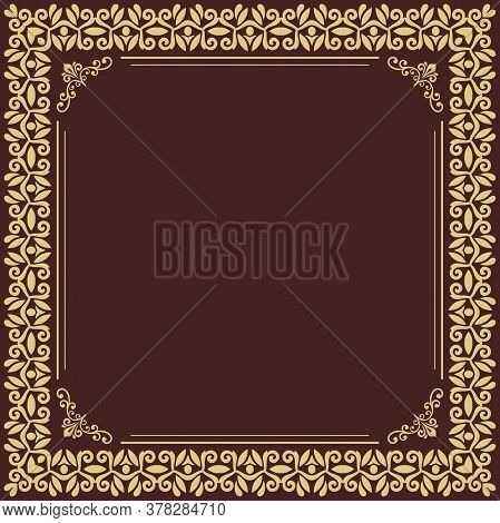 Classic Vector Square Golden Frame With Arabesques And Orient Elements. Abstract Ornament With Place