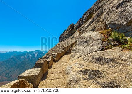 Stairway Steps Of The Top Of Moro Rock Trail In Summer In California, United States Of America In Se