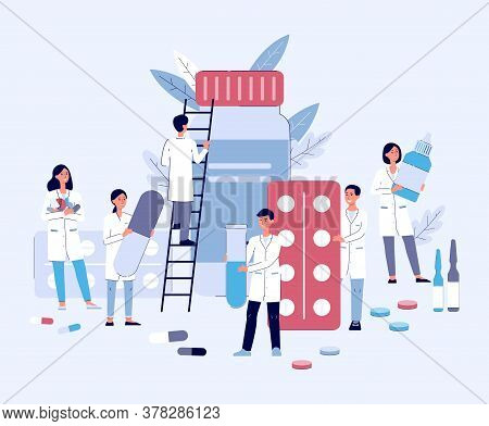 Pharmacy And Drugstore Concept With Pharmacists And Doctors, Medical Pills And Tablets.