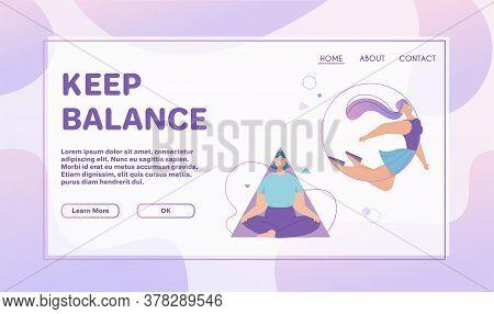 Vector Banner Of Keep Balance Concept, Meditation, Harmony