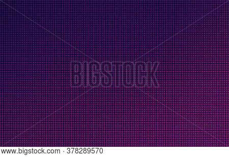 Led Screen Gradient Background, Pink And Purple Monitor Dots. Close-up Of The Macrotexture Of The Di
