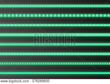 Green Led Strips Collection, Bright Luminous Ribbons Isolated On A Transparent Background. Realistic