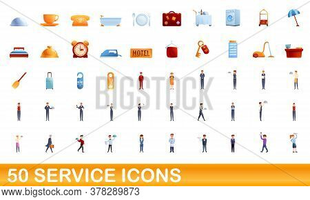 50 Service Icons Set. Cartoon Illustration Of 50 Service Icons Vector Set Isolated On White Backgrou