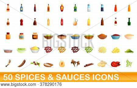 50 And Sauces Icons Set. Cartoon Illustration Of 50 And Sauces Icons Vector Set Isolated On White Ba