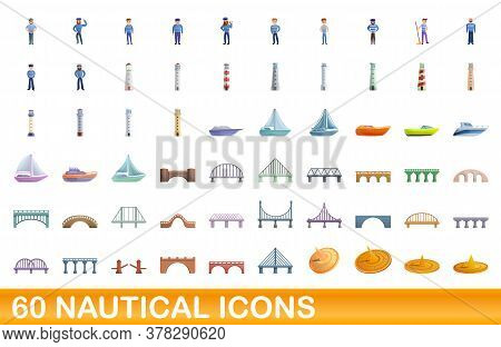 60 Nautical Icons Set. Cartoon Illustration Of 60 Nautical Icons Vector Set Isolated On White Backgr