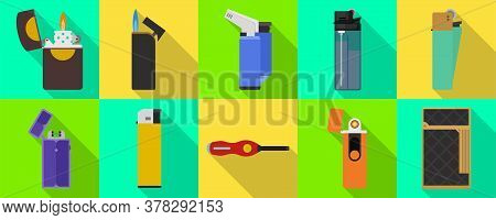 Lighter Of Flame Vector Flat Set Icon. Isolated Flat Set Icon Equipment For Ignite. Vector Illustrat