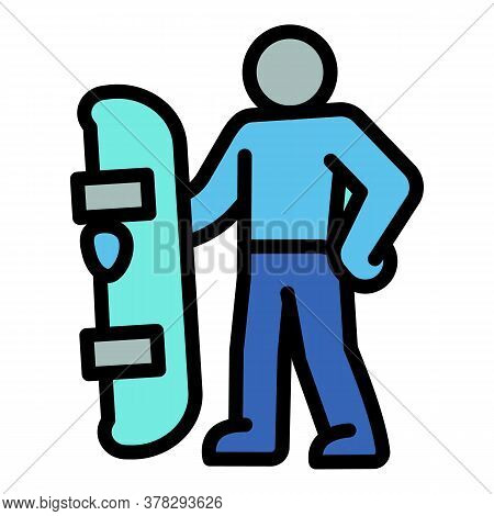Ski Resort Snowboard Man Icon. Outline Ski Resort Snowboard Man Vector Icon For Web Design Isolated