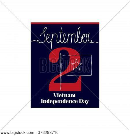 Calendar Sheet, Vector Illustration On The Theme Of Vietnam Independence Day On September 2. Decorat