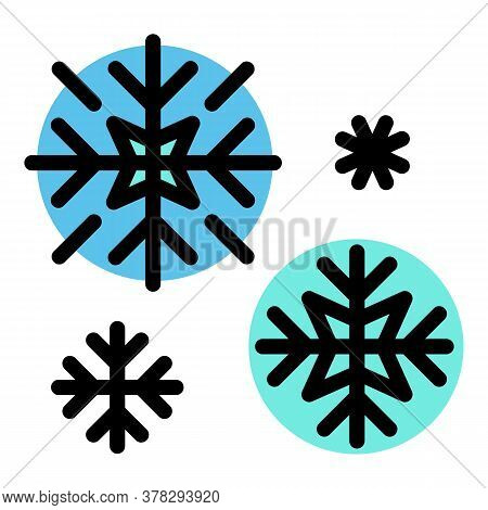 Ski Resort Snowflakes Icon. Outline Ski Resort Snowflakes Vector Icon For Web Design Isolated On Whi