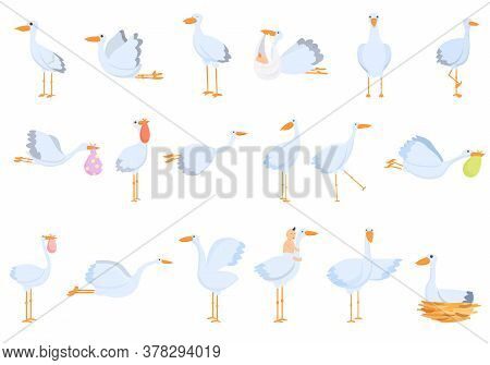 Stork Icons Set. Cartoon Set Of Stork Vector Icons For Web Design
