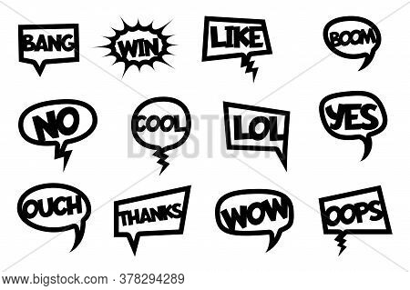 Comic Text Laser Cut Photo Booth. Vector Black Silhouette Isolated On White Background. Comic Cartoo