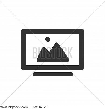 Computer Screen Icon, Computer Screen Icon With Gallery Icon As Image Preview, Monitor Icon Vector I