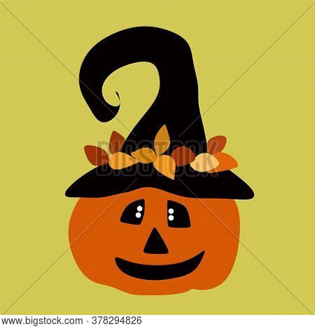 Jack The Pumpkin In The Witchs Hat.pumpkin For Halloween.vector Illustration On A Beige Background