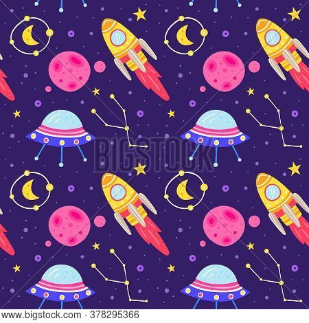 Space Vector Flat Seamless Pattern, Background. Rocket, Alien Spaceship, Planet, Star, Moon, Asteroi