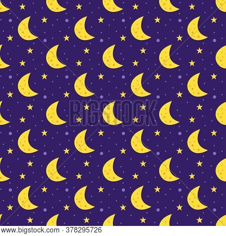Space Vector Flat Seamless Pattern, Background. Moon With Stars. Galaxy, Science. Futuristic. Cosmos