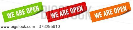 We Are Open Sticker. We Are Open Square Isolated Sign. We Are Open Label