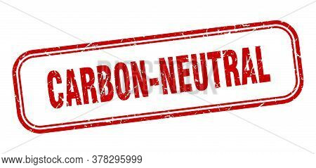 Carbon-neutral Stamp. Carbon-neutral Square Grunge Red Sign