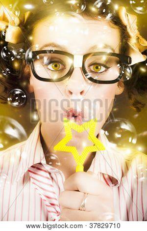Pretty Geek Girl At Birthday Party Celebration