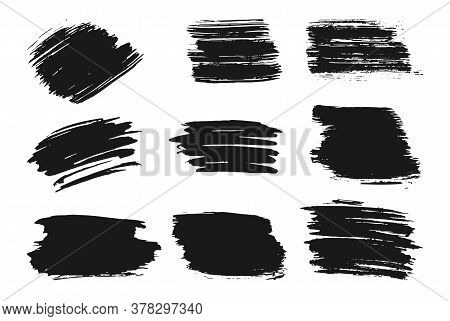 Different Hand Drawn Ink Brush Strokes Set. Stamp Label For Artistic Design. Grungy Texture, Dirty B