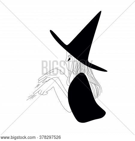 Silhouette Of A Witch With Hat That Conjures.black And White Witch On A White Background.halloween.v