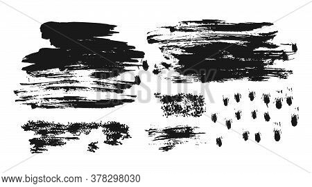 Ink Stamp Set. Different Handdrawn Brush Stroke. Abstract Grungy Texture Background For Banner Or Di