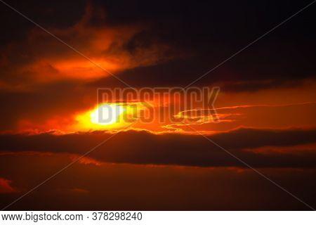 Dramatic Sky With Sunbeam . Spectacular Twilight Heaven