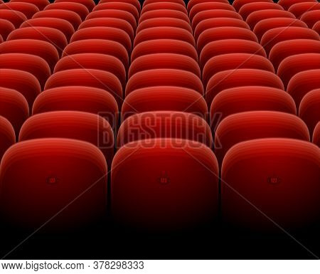 Cinema Theater Red Seats Row Set Show, Performance, Conference And Event Concept For Business. Vecto