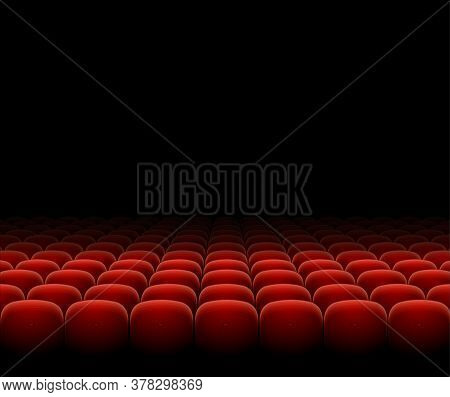 Cinema Theater Red Seats Row Set On A Dark Background Place For Ad Text. Vector Illustration