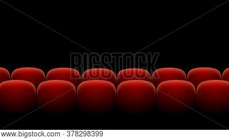 Cinema Theater Red Seats Row Set On A Black Background Entertainment Concept . Vector Illustration O