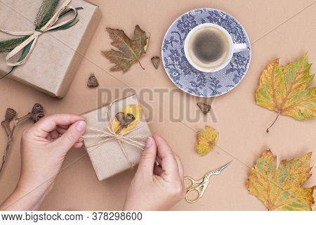 Womens Hands Are Wrapping Gifts In Kraft Paper, On A Beige Table Next To A Cup Of Coffee And Dry Aut