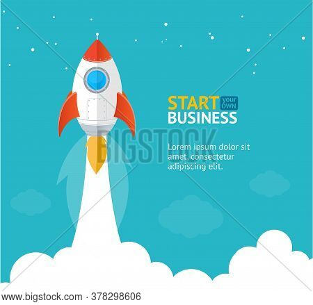 Rocket Ship Startup Concept Banner Flat Design Style Symbol Of Trendy Innovation. Vector Illustratio