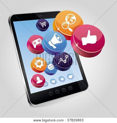 Tablet Pc With Social Media Concept On Touchscree