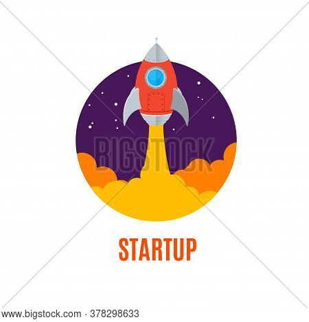 Rocket Ship Startup Concept Banner Flat Design Style Symbol Of Business Opportunity. Vector Illustra