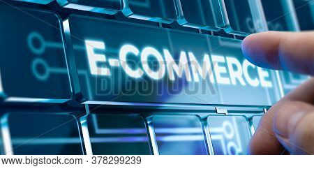 Man Using A E-commerce System By Pressing An E-commerce Button On Futuristic Interface. Business Con