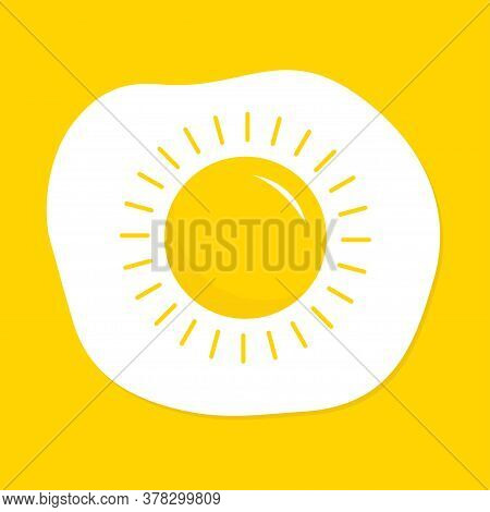 Fried Scrambled Egg Icon. Yolk In Shape Of Sun Shining. Top View Closeup. Good Morning. Breakfast Me