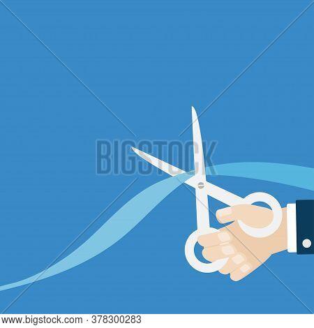 Grand Opening Ceremony. Businessman Hand Scissors Cut The Straight Ribbon Right Corner. Inauguration