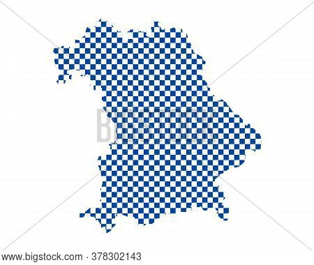 Detailed And Accurate Illustration Of Map Of Bavaria In Checkerboard Pattern