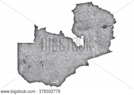 Detailed And Colorful Image Of Map Of Zambia On Weathered Concrete