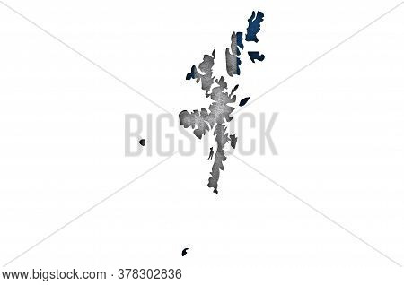 Detailed And Colorful Image Of Map And Flag Of Shetland Islands On Weathered Concrete