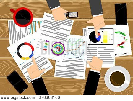 Analyzing Chart Graphic, Business Meeting And Looking Annual Report. Vector Top View Presentation An