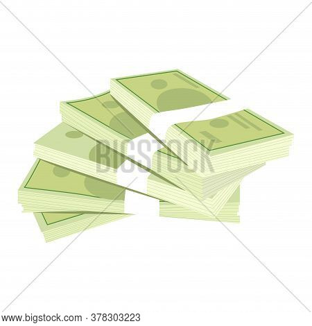 Bundle Of Money. Isolated Cash Currency, Financial Pack Money, Vector Savings Stack Banknotes, Illus