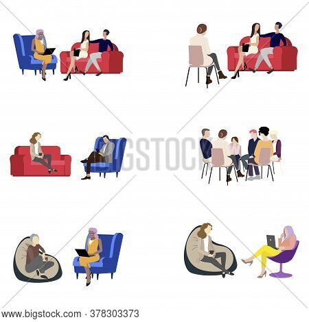 Psychology Session Set , Group And Individual Support. Vector Psychotherapy And Psychiatry Help, Psy