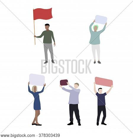 Colored Cartoon People With Placard And Banner, Riot And Meeting. Vector Protesting And Manifestatio