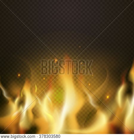 Realistic Fire Border, Orange Flame Tongue. Vector Fire Light Realistic, Bonfire Blazing Effect, Glo