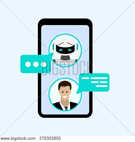 Chatting With Bot In Smartphone Messenger. Chatting Communication With Chatbot, Technology Mobile Sm