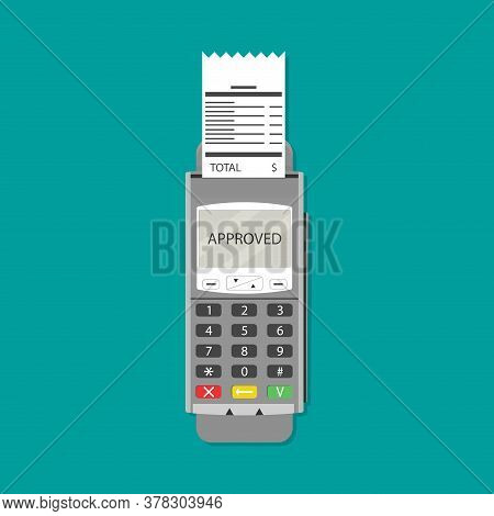 Terminal With Bill. Pos Financial Receipt, Paper Check, Checkout Reciept. Vector Illustration