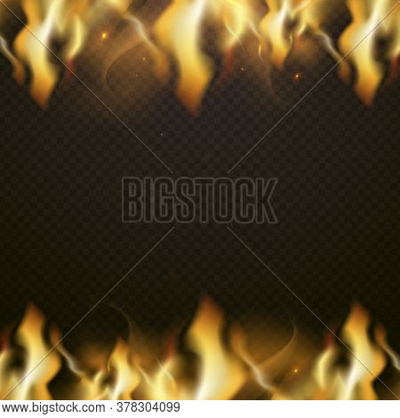 Border Frame Fire Banner With Place For Text. Vector Combustion Glowing, Flaming Ignition, Transpare