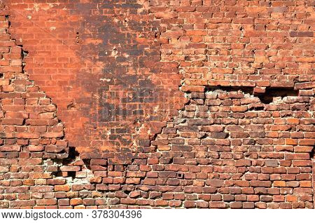 Brickwork Of The Old Fortress Wall. Background