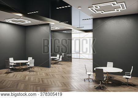 Modern Conference Room Interior With Panoramic City View, Wooden Floor And Daylight. 3d Rendering